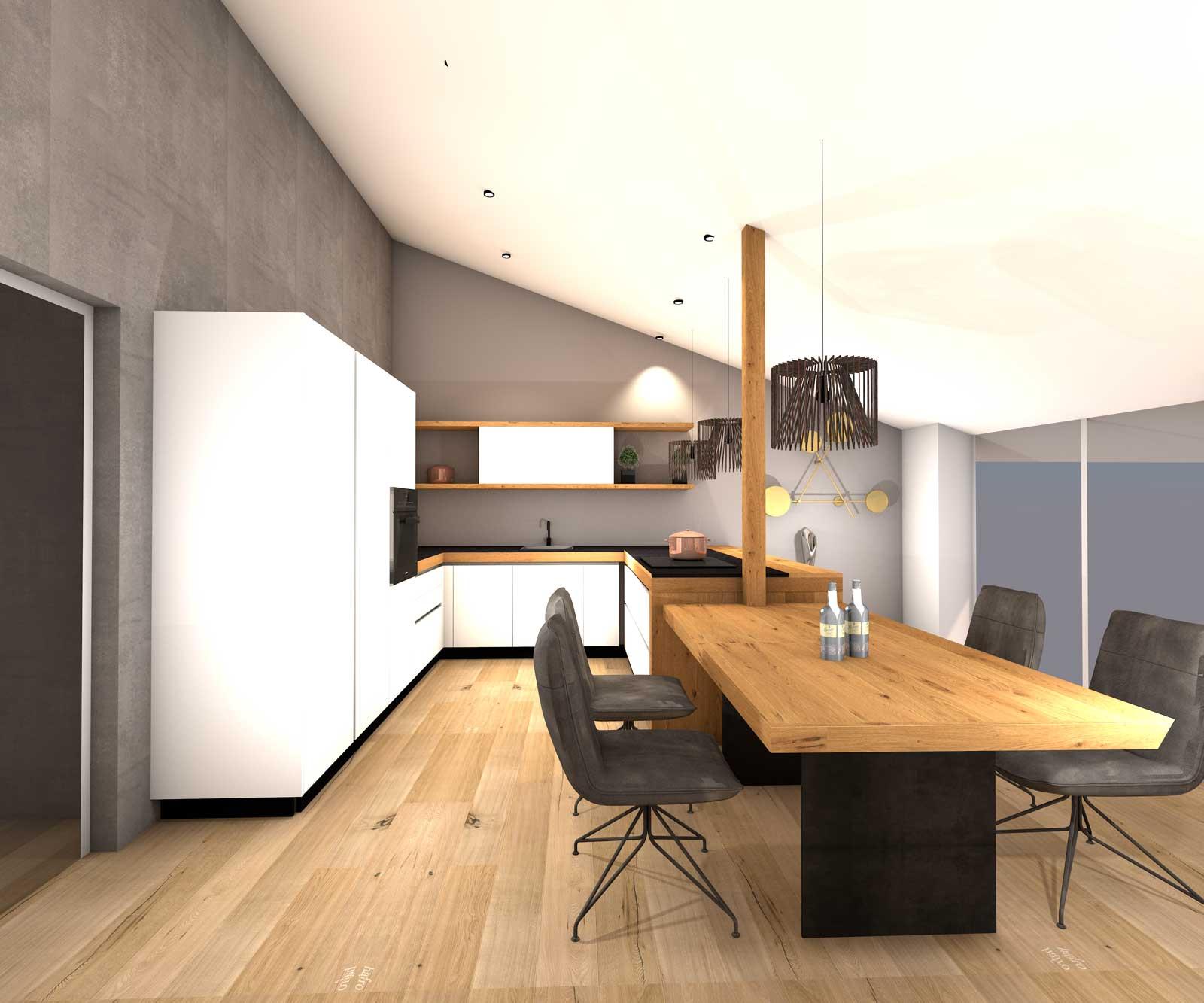 Entwurf Küche mit Eiche