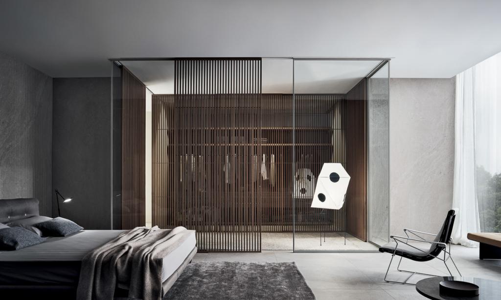 Rimadesio Schrankraum, modernes Schlafzimmer mit begehbaren Schrank