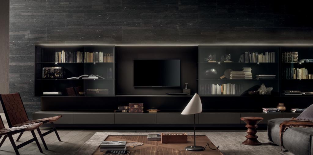Rimadesio Wohnzimmerschrank, Wandverkleidung in Granit