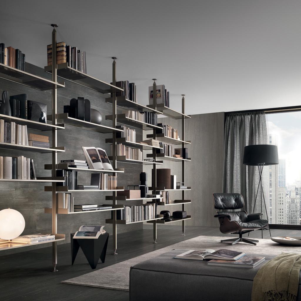 Rimadesio Wohnzimmer Regal mit Holzverkleidung