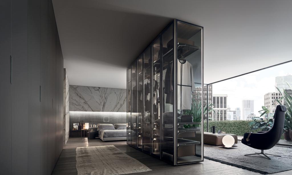 Rimadesio Kleiderschrank in Glas, Raumtrenner, exklusives Schlafzimmer
