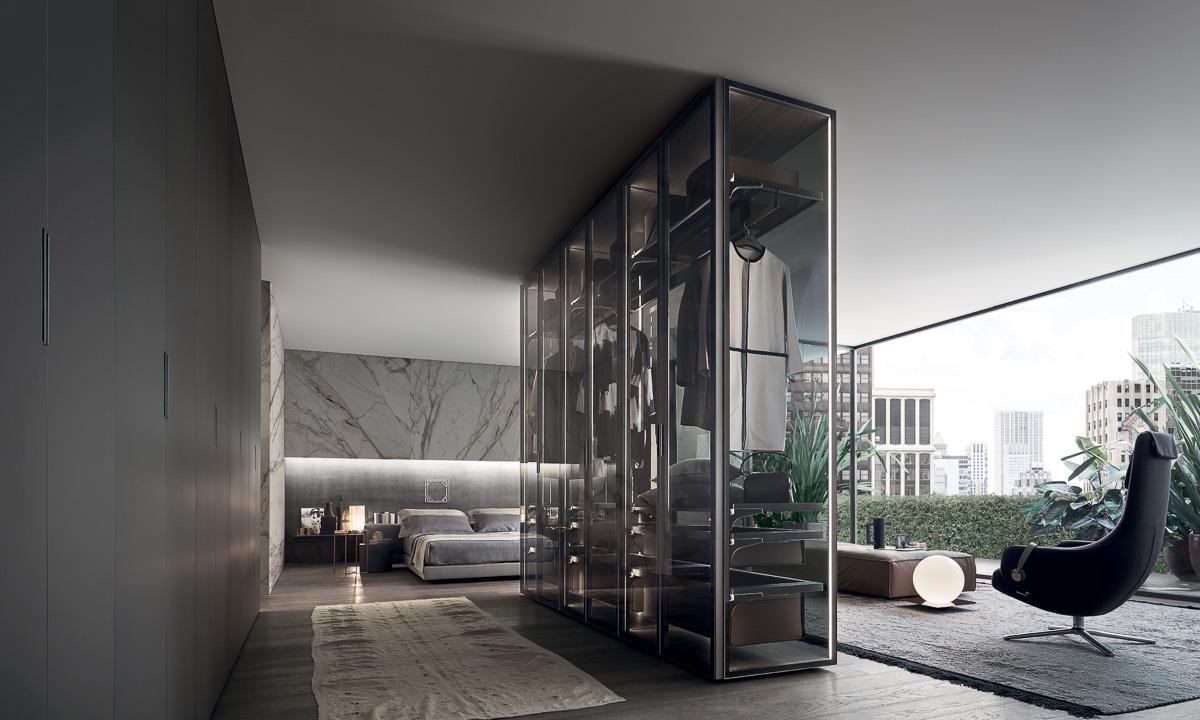 Schlafzimmer mit Glaskleiderschrank - Sendlhofer Wohndesign