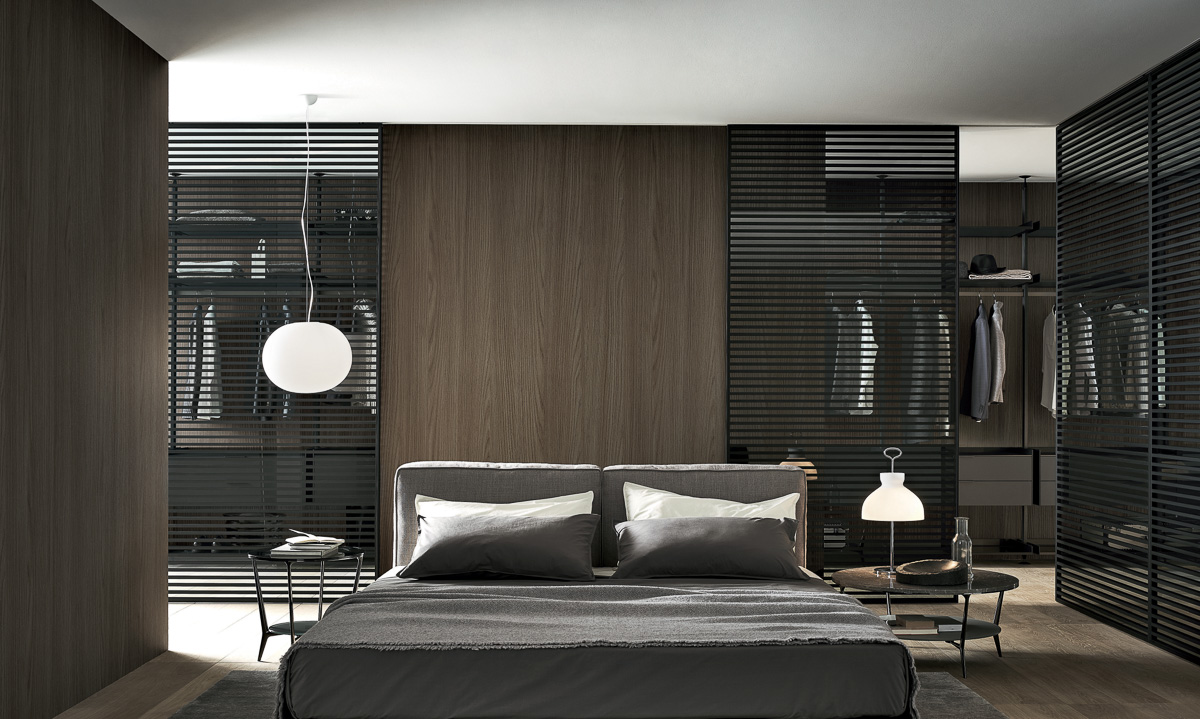 Schlafzimmer mit Ankleide um Bett - Wohndesign
